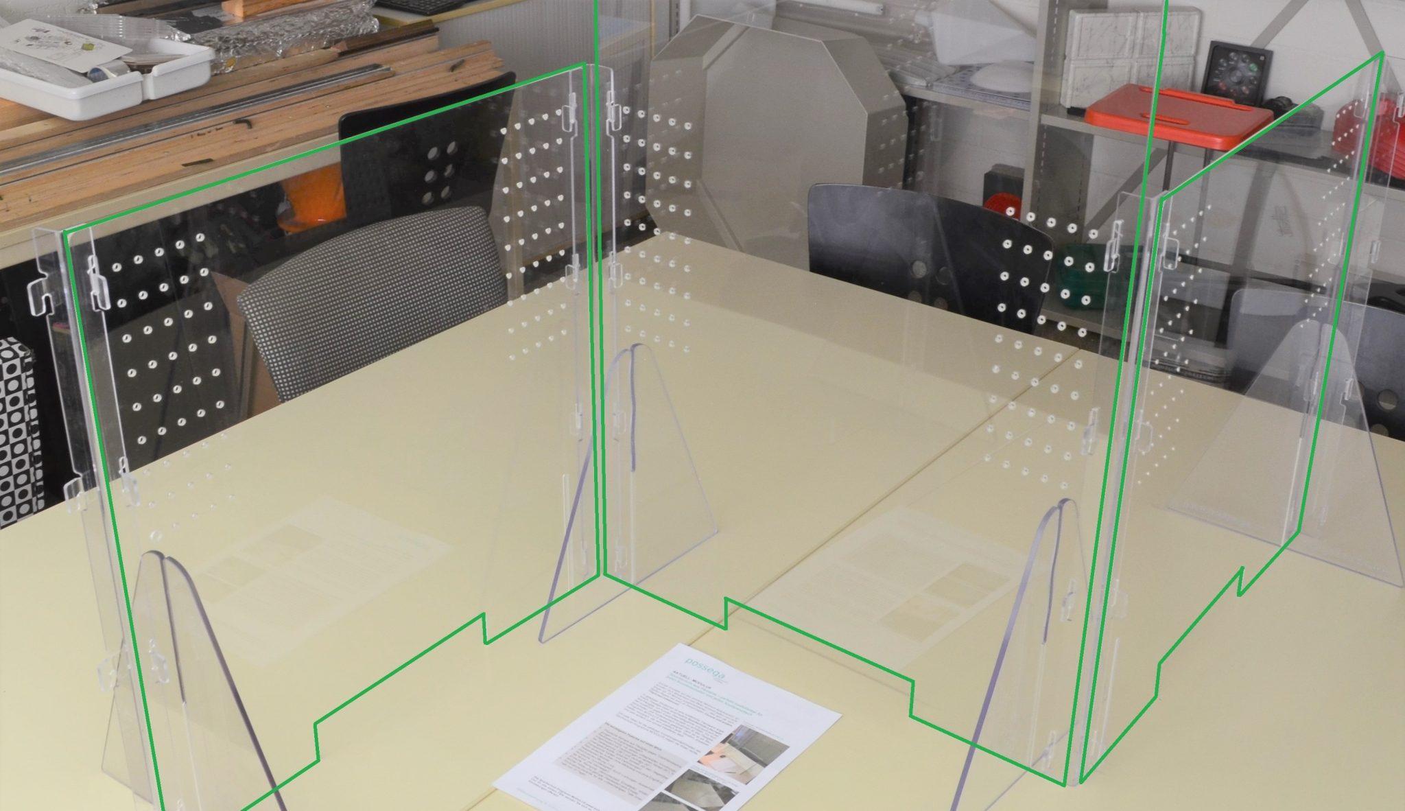 Plexiglas-/PC-Spuckschutz-System MODULUS - 60 cm hoch - 90 cm - 60 cm hoch, rechtwinklig verbunden