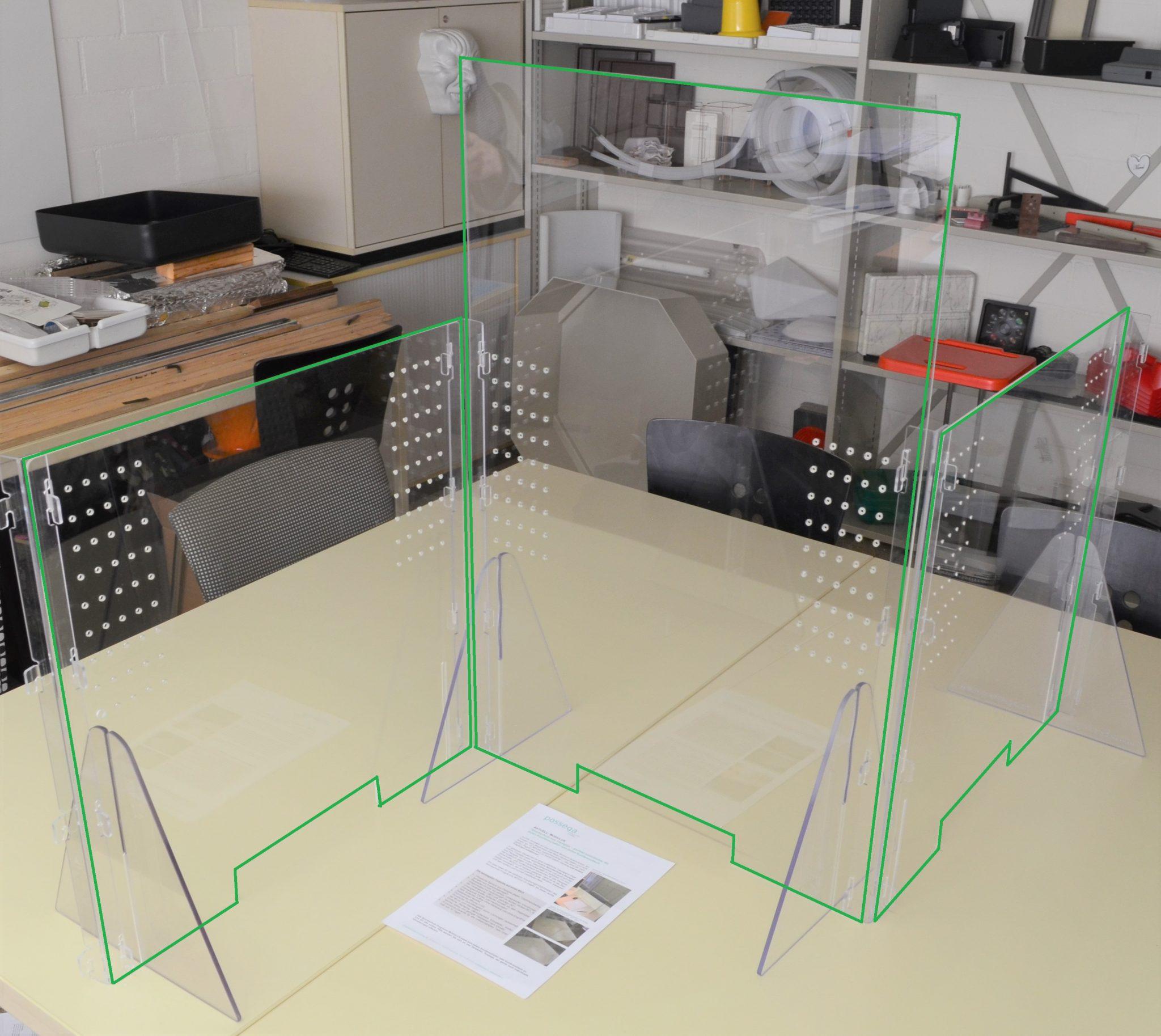 Acryl-/Plexiglas-Spuckschutz-Programm MODULUS - Ausbaumöglichkeiten in die Breite und alternative Masse in die Höhe